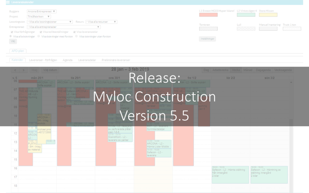 Myloc Construction logistiksystem för byggprojekt – Release av version 5.5