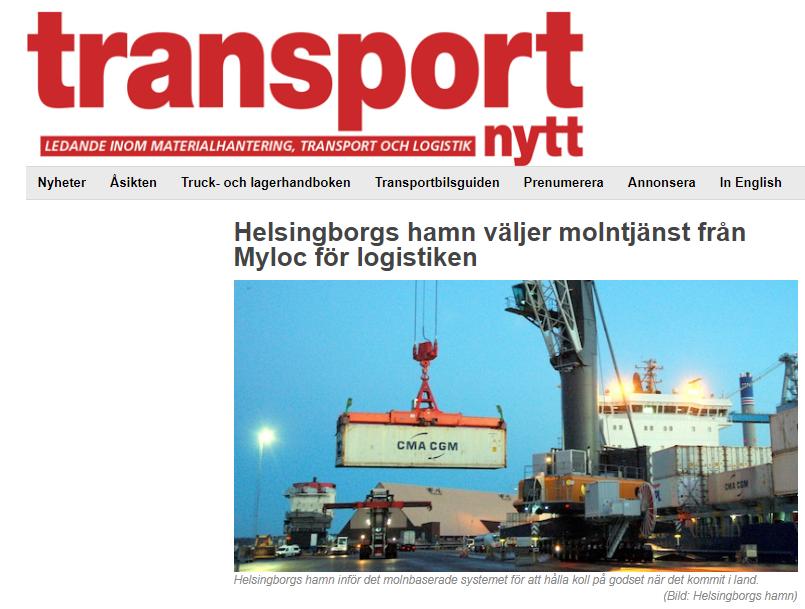 Transportnytt uppmärksammar samarbetet mellan Myloc och Helsingborgs Hamn
