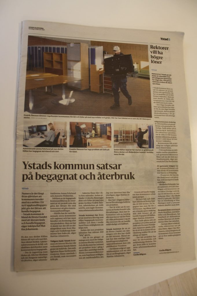 Ystads allehanda, Ysstad kommun, Mattias Johansson, Myloc Sharing, Myloc, Logistik återbruk