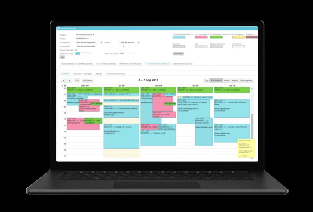 Myloc Construction Schedule kalender schema bygglogistik