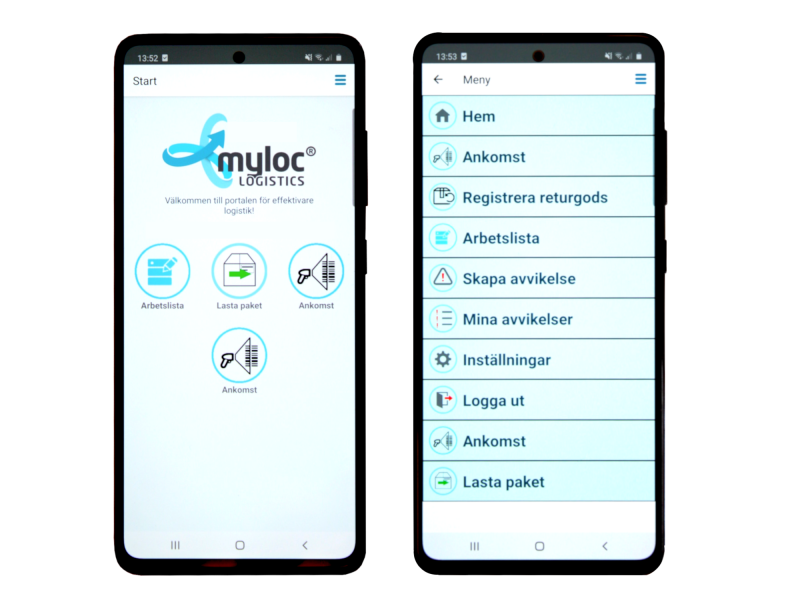 Myloc Go dubbel skärmbild